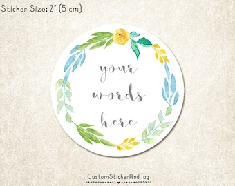 30 custom stickers, round shape, watercolor wreath, personalized with your word, wedding favor, bridal shower sticker, envelope seal (S-137)