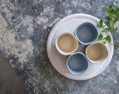 Espresso Cups Set, Ceramic Espresso Cups, White & Blue Espresso Mugs, Small Handmade Coffee Cup,Unique pottery cups,Coffee Lovers, SET OF 2