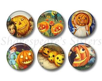 Halloween Magnets - Fridge Magnets - Pumpkin Magnets - 6 Magnets - 1.5 Inch Magnets - Kitchen Magnets