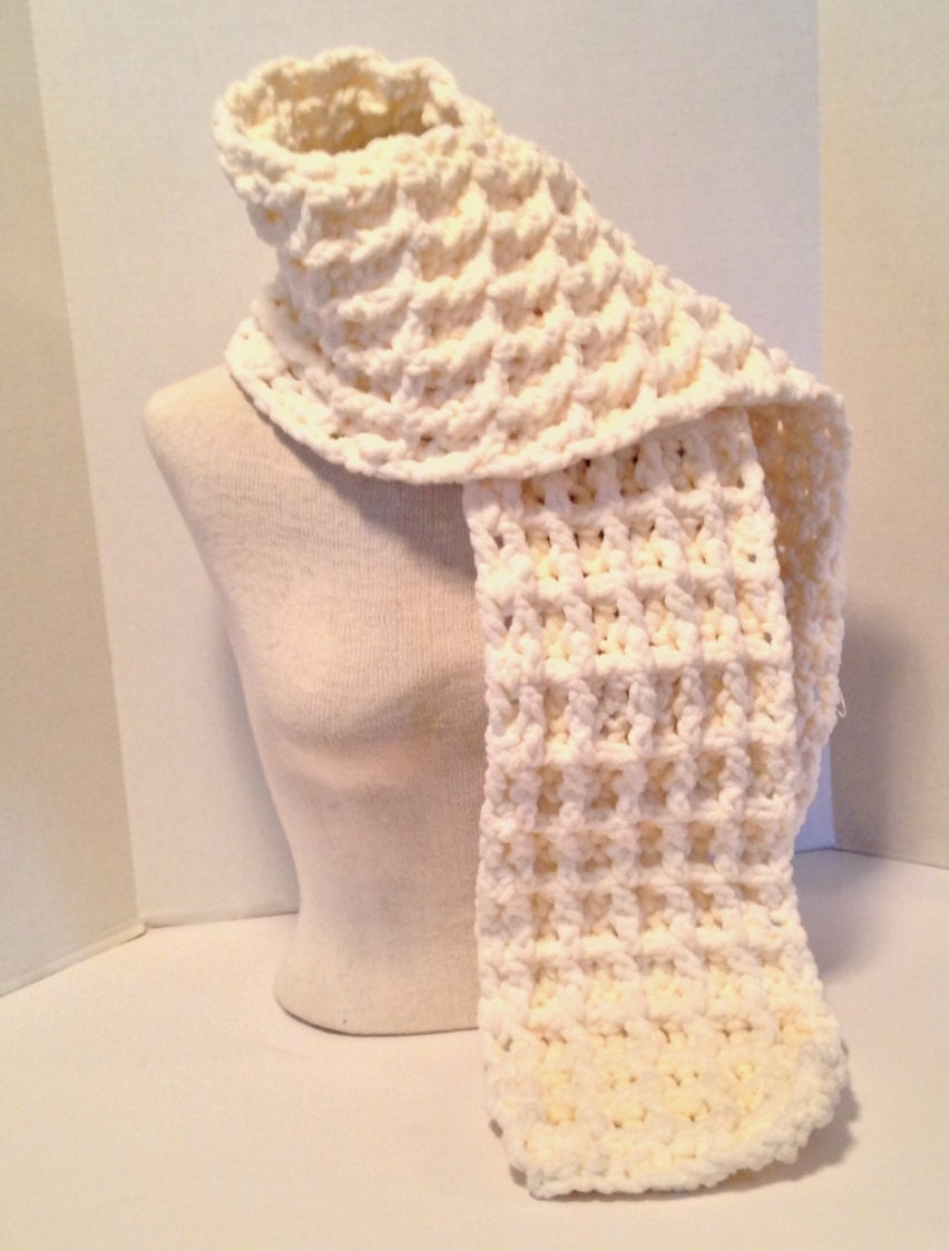 Crochet Pattern Chunky Waffle Stitch Baby Blanket and Scarf Using ...
