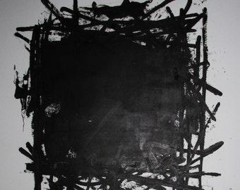 "Abstract Minimal Black No.0857 Acrylic on Paper 24x18"" Original Modern Art Industrial"