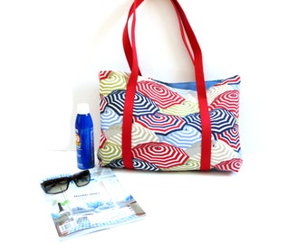 Summer tote beach bag, red white blue, carrying bag, canvas tote bag, vacation, weekend bag,