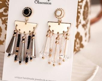 Crystal Chandelier Earrings, Gold Color Earrings, Black Drop Earrings, Bold Earrings, Sophisticated party earrings