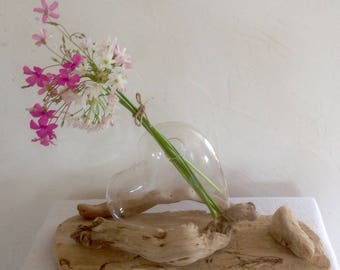 Heart and drift wood pedestal vase