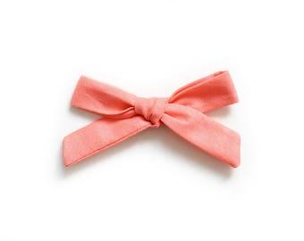 Coral Hand Tied Bow - Baby Headband - School Girl Bow