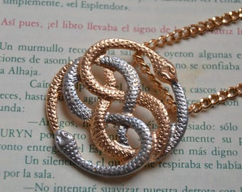 Gold and silver Auryn necklace replica, like original Auryn pendant from the Neverending Story movie
