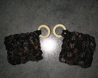 Sponge eco Tawashi identical Brown handmade
