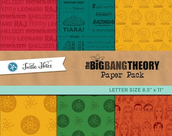 Big Bang Theory Letter Sized Paper Pack : 30 Printable Digital Scrapbook Paper