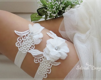 Ivory Wedding Garter Set, Lace Garter, Bridal Garter Set, Something Ivory, Flower Garter