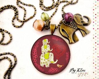 Necklace Cabochon • the Elephants • flower bird Heart Necklace