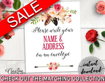Pink And Red Bohemian Flowers Bridal Shower Theme: Write Your Name And Address Sign - lettermate, stylish bridal, party planning - 06D7T