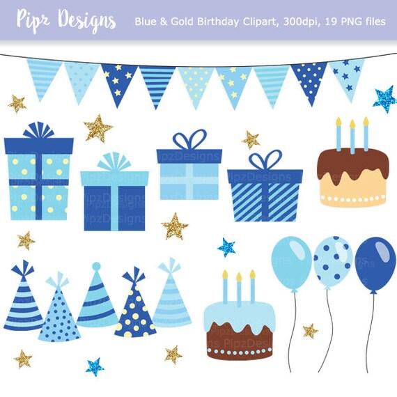 Blau und Gold Geburtstag Clipart Karte Partyhüte
