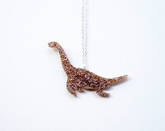 Glitter Plesiosaur Dinosaur Medium Necklace. Sparkly Dinosaur Pendant. Loch Ness Monster Chain Nessie Brooch Sea Dinosaur Glitter Nessie