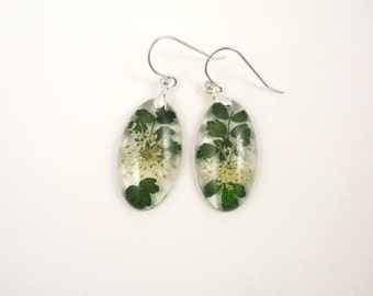 Real Flower Resin Earrings, green plant jewelry, Pressed Flower resin,  Handmade Botanical Earrings, Resin jewelry, Queen Annes lace, Leaves