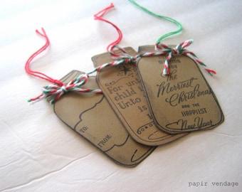 Christmas Tags, Mason Jar Christmas Tags, Antiqued Christmas Tags, Christmas Decorations, Christmas Gift Tags, Handmade Christmas Tags