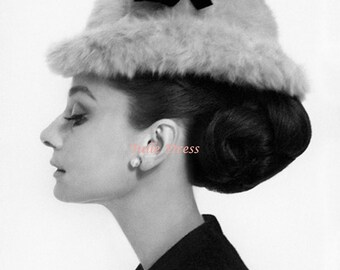Audrey Hepburn Profile Fur Hat Photograph from Blair Waldorf's Bedroom in Gossip Girl (available in several sizes)