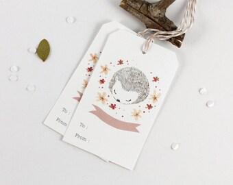 30% OFF - 10 Gift Tags - Hedgehog