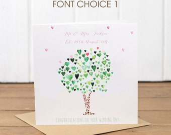 Personalised Wedding Green Tree of Hearts Card. General Anniversary Card. Perfect Personalised card for weddings & Anniversary. Engagement.