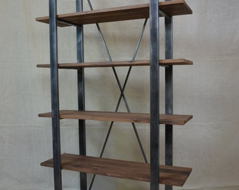 Industrial Rustic Shelving, walnut and metal shelf