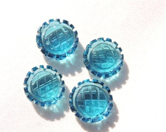 4 Pieces Extremely Beautiful Teal Blue Quartz Carved Round Shaped Loose Gemstone Size 13X13 MM
