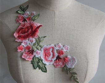 ACD28 - APPLIQUE lace embroidered * 12 x 26 cm * Bouquet of flowers and leaves