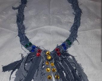 Stylish denim and rhine stones necklace
