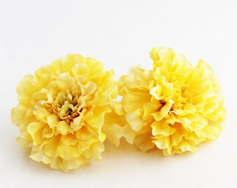 TWO Yellow Marigold | Hair Accessory | Millinery Flowers | Boutonniere | Wedding | Headband Flower | Artificial Marigold | The Blue Hutch