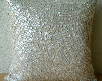 Decorative Pillow Sham Covers Couch Sofa Pillow 24x24 Linen Pillow Sham Mother Of Pearl Embroidered Pillow Case Bedroom - Glazed Pearls