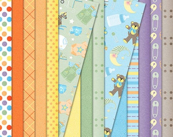 Growing Pains Baby Boy Digital Papers for Scrapbooking & Paper Crafting