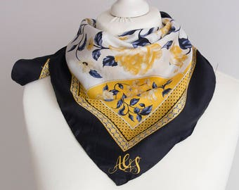 """vintage Square scarf, polyester scarf, fabric women scarf shawl 66cm / 25"""" floral scarf navy blue yellow gold"""