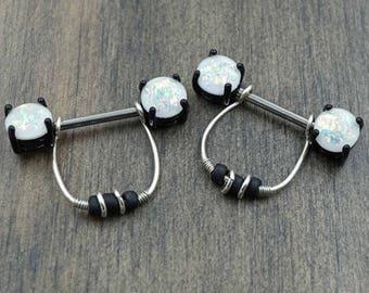 Opal Glitter Black Nipple Ring Nipple Piercing
