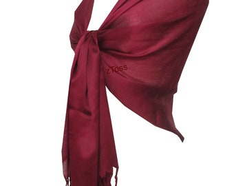 100% Silk Scarf/Shawl/Wrap For Day To Evening Occasions (Deep Maroon)