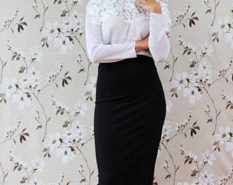 black pencil midi skirt, midi skirt, office wear, business clothes