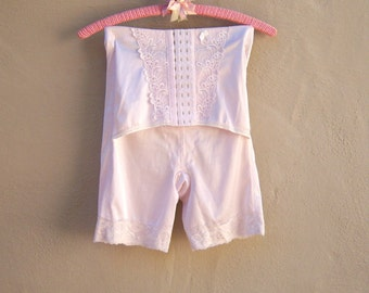 50s 60s pink lace girdle / satin spandex hooked corset / elegant boudoir pin up small medium