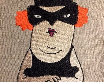 Fancy Frau Fledermaus (Female bat), Machine embroidery design, to bring some humour in to your craft...