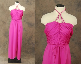 vintage Maxi Dress - 70s Knotted Draped Pink Dress - 1970s Deadstock Formal Party Dress Sz S