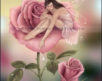Rose Flower Fairy Art Print Fantasy Art