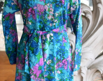 Vintage 1970s Blue & Purple Swirly Flower Print Dress