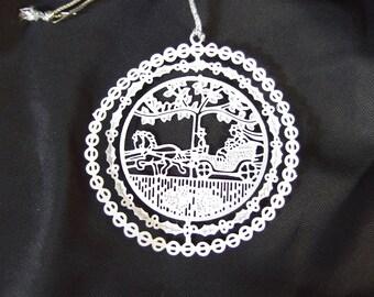 Metal Christmas Ornament - Vintage Filigree Ornament IOB