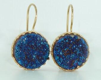 Blue Druzy Earrings, Druzy Drop Earrings, Gold Earrings, Druzy Agate Bezel Sets, Blue Dangle Gemstones Earrings,  Crown Lace Settings.
