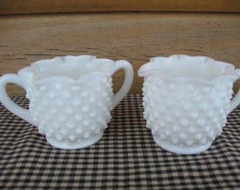 Milk Glass KnobNail Sugar Bowl and Creamer Pitcher