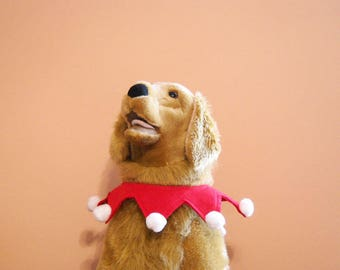Christmas Santa Collar for Large Dog Red and White with Optional Jingle Bells