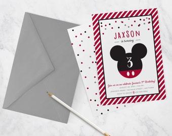 Mickey Mouse Birthday Party Invitation - Kids Birthday Party Invite - Red - DIY Printable - Print At Home