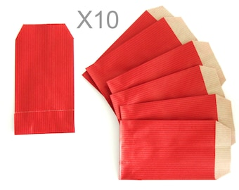 Red kraft paper gift pouches x 10pcs