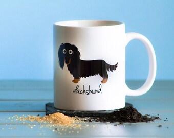 Dachshund Mug (longhaired - black and tan)