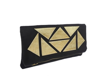 Suede & Leather Mosaic Fold Over Clutch