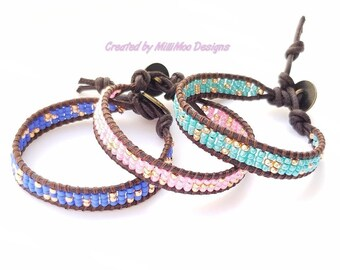 NEW Pretty Boho/Hippie Summer Beaded Genuine Leather Cuff Bracelet in Pink/Rose Gold,Ultra Violet/Rose Gold or Pink/Rose Gold,Festival,Beach