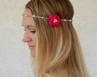 Hemp Flower Headbands on Sale With Color Options, Hair Accessory, Floral Crown, Hippie Headband, Hair Jewelry, Hair Flowers, Bridal, Boho