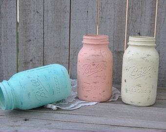 Shabby Chic Mason Jars, Mint Green, Coral, Blush, Ivory, Painted Mason Jars, Distressed, Beach Decor, Wedding Decor, Baby Shower