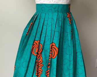 Green and orang African print skirt